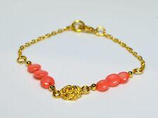 Koralle UNIKAT Armband Armschmuck Pink Coral & Roses vergoldet