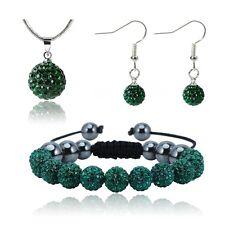 Shamballa Earring Bracelet Necklace SET Crystal Disco Ball Crystal FREE POST