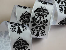 White Black Velvet Flock Pattern Ribbon Wedding Cakes Bows Wreath Wire Edge