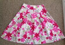 Tu Sainsbury's Cotton Floral pretty Skirt Pink Beige Cream Green Size 10