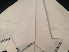 VINTAGE HAND EMBROIDERED WHITE TABLECLOTH ~  STUNNING FLORAL EMBROIDERY