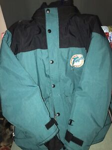 Miami Dolphins Champion Jacket Large Double Zipper Button With Hood NFL Vintage