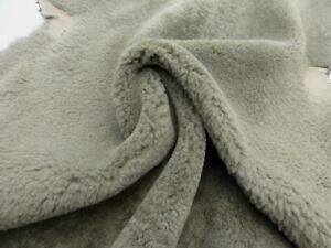 sheepskin shearling leather hide Dark Khaki Green plush hair w/suede back