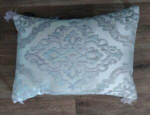 J. QUEEN Eleanora BOUDOIR TOSS PILLOW Grey Silver blue Tassel