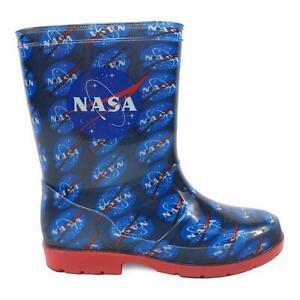 NASA Kids Junior 'Brenden' Navy and Red Wellington Boot All Sizes, Dirt & Muck