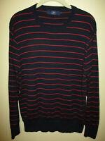 Mens J CREW size M pullover knit sweater dark blue red stripes crew neck preown