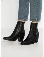 Topshop Mason Croc Effect Leather Western Ankle Boots UK6 EU39 US8.5