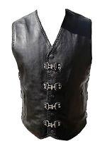 Motorcycle Biker Leather Vest Clip Motorbike Rider Waistcoat Braid Leather Vest