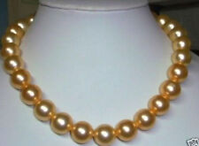 "10mm Gold South Sea Shell Pearl Necklace 18"" Ll0123"