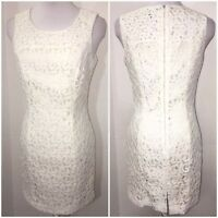 Paniz New York Small 4 Ivory White Floral Lace Sheath Dress Bridal