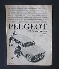 Peugot 1960 403 Original Vintage Print Ad