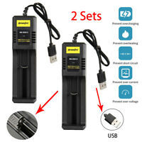 Single Slot USB Battery Charger for 16340/18650/26650 Rechargeable battery US