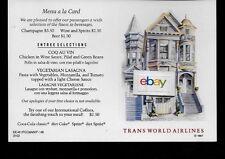 TWA TRANS WORLD 1987 COACH MENU/POSTCARD SAN FRANCISCO GREAT DESTINATIONS FCO