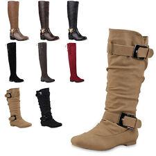 Damen Stiefel Reiterstiefel Langschaft Boots Leder-Optik 77920 Top