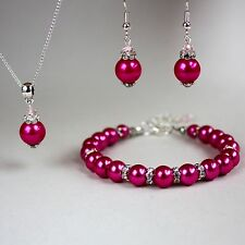 Fuchsia pink pearl crystal necklace chunky bracelet earrings wedding silver set