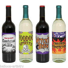 4 Surtidos del Witch's Brew Voodoo espíritus Fiesta De Halloween Papel Etiquetas De Botella