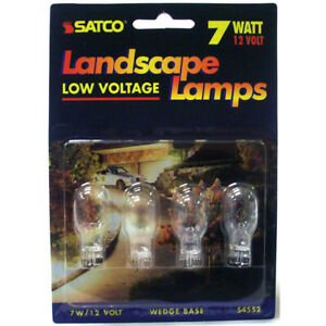 4 Pk - Satco S4552 7W 12V T6 W2.1x9.5d Mini Wedge Landscape Lamp