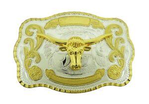 Bull Belt Buckle Western Men Rodeo Cowboy Big Texas Style Gold Silver Metal New