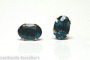 9ct Gold London Blue Topaz Studs Oval Earrings Gift Boxed Made in UK