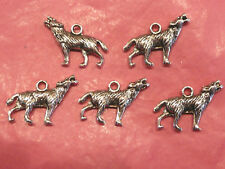 Tibetan Silver Wolf Charms 5 per pack Halloween/Twilight themes