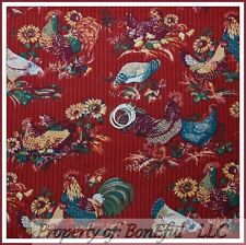 BonEful Fabric Cotton Quilt Country Red Farm VTG Rooster Chicken Kitchen L SCRAP