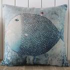 45cm*45cm Vintage Big Blue Fish Cartoon Linen Cushion Cover Pillow Case Kid Room