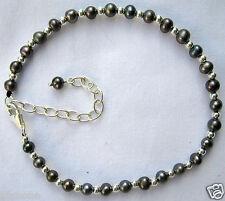 "Cultured Pearl & Sterling Silver 8""-10"" Ankle Bracelet Midnight Blue Black"