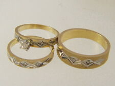 14 KT SOLID GOLD DIAMOND HIS & HERS WEDDING BANDS / THREE PIECE BRIDAL SET RINGS