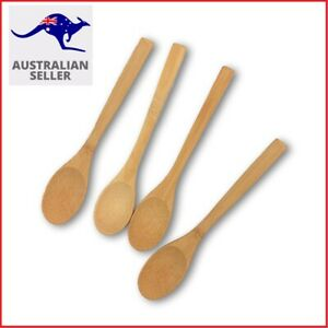 4 x Natural Bamboo Wooden Flat Spoon 16cm x 3cm