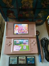 Nintendo DS lite Console Pink With 4 Games, Usb Charger, Mario Case  And Stylus