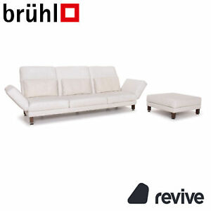 Brühl & Sippold Moule Leather Sofa Set White Three-Seater Relaxfunktion Stool