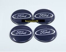 Four Ford Sticker Only Alloy Wheel Centre Cap 3D Blue & Silver frame Sport 70mm