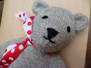 SALE Hand Knitted Wool Teddy Bear CE Marked Home Gift Toy Natural UK CLEARANCE