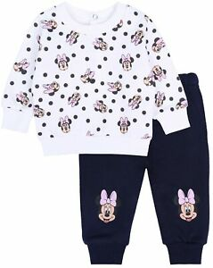 Set for Baby Girls White Sweatshirt & Navy blue Sweats Minnie Mouse