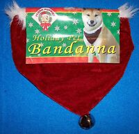 Small Red Velvet Holiday Dog Pet Bandanna Christmas Costume Gift