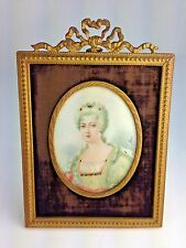Antique Miniature Hand Painted Portrait French Royal Madam  On Ivory Signed Marc
