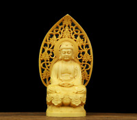 "3.9""Chinese Box-wood Hand Carving Buddha Light Sakyamuni Amitabha Pingan Statue"