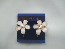 Flower Drop Earrings Glitter Faceted Acrylic Cream New