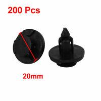 200 Pcs Black Plastic Rivet Fastener Moulding Clips for 7mm Hole