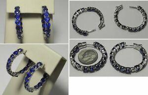 "S704 Estate SD Sterling Inside Out 5mm Dark Blue Topaz Hoop Earrings 1.25"""
