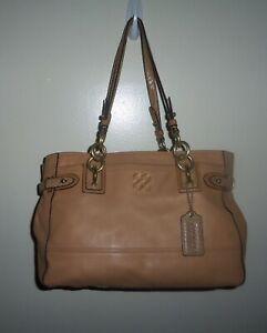 COACH Colette Handbag Tote Purse 16460 Beige Tan Leather