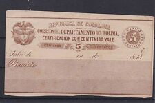 tolima colombia 1888 5c insured letter ..  g501