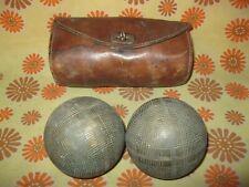 Lot x2 Anciennes BOULES LYONNAISES + SACOCHE en CUIR Sport Boule Pétanque Sac