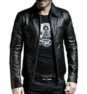 Men's Genuine Leather Jacket, Slim Fit, Genuine Lambskin Motorcycle Jacket