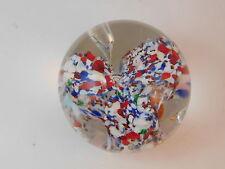 """Murano Italy Italian Hand Blown Glass Red White Blue 3"""" x 2.5"""" Paperweight"""