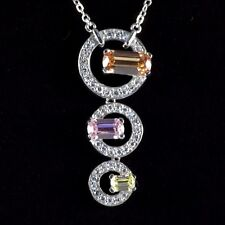 925 Sterling Silver necklace with CZ stones pedant...w/ gift box...one of a kind