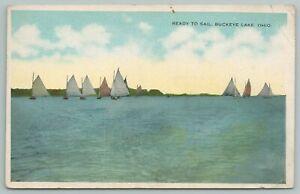 Buckeye Lake Ohio~Ready To Sail~Sunrise To Sunset~Vintage Postcard