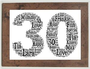 Personalised 16th 18th 21st 30th 40th 50th or ANY AGE Birthday Gift in BLACK