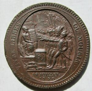 France Revolution 1792 Bronze Monneron 5 Sols