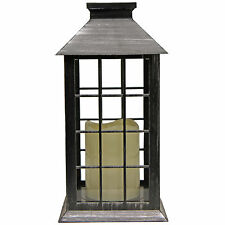 Traditional Steel Effect Lantern with LED Flickering Candle Light ~ Design A 697